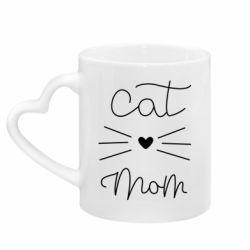 Кружка з ручкою у вигляді серця Cat mom