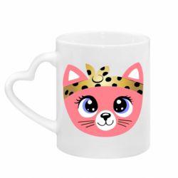 Кружка с ручкой в виде сердца Cat pink
