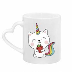 Кружка з ручкою у вигляді серця Cat unicorn and strawberries