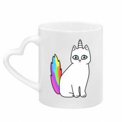 Кружка с ручкой в виде сердца Cat Unicorn