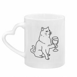 Кружка з ручкою у вигляді серця Cat with a glass of wine