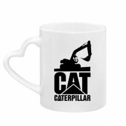 Кружка з ручкою у вигляді серця Caterpillar cat