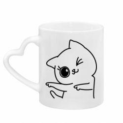 Кружка с ручкой в виде сердца Cheerful kitten