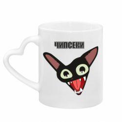 Кружка с ручкой в виде сердца Чипсеки кот мем