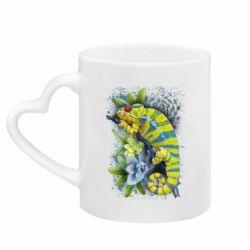 Кружка з ручкою у вигляді серця Collage with chameleon and succulents