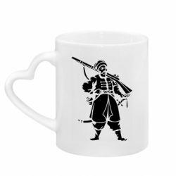 Кружка с ручкой в виде сердца Cossack with a gun