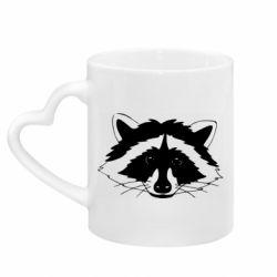 Кружка з ручкою у вигляді серця Cute raccoon face