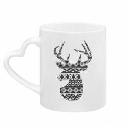 Кружка з ручкою у вигляді серця Deer from the patterns