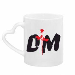 Кружка с ручкой в виде сердца depeche mode logo