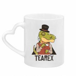 Кружка з ручкою у вигляді серця Dinosaur with tea