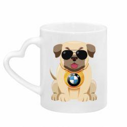 Кружка з ручкою у вигляді серця Dog with a collar BMW