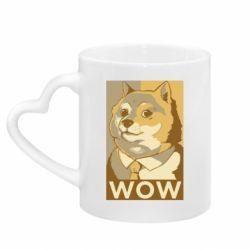 Кружка з ручкою у вигляді серця Doge wow meme