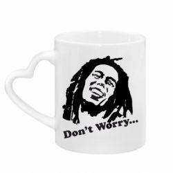 Кружка с ручкой в виде сердца Don't Worry (Bob Marley)