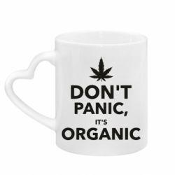 Кружка с ручкой в виде сердца Dont panic its organic