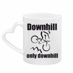 Кружка з ручкою у вигляді серця Downhill,only downhill