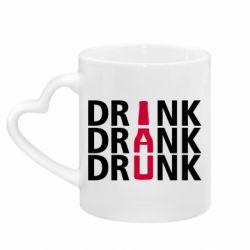 Кружка с ручкой в виде сердца Drink Drank Drunk