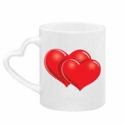Кружка с ручкой в виде сердца Два сердца