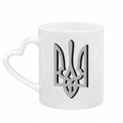 Кружка с ручкой в виде сердца Двокольоровий герб України