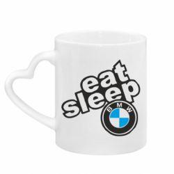 Кружка з ручкою у вигляді серця Eat, sleep, BMW