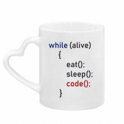 Кружка з ручкою у вигляді серця Eat, Sleep, Code