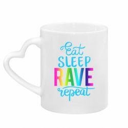 Кружка з ручкою у вигляді серця Eat, sleep, RAVE, repeat