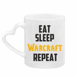 Кружка с ручкой в виде сердца Eat sleep Warcraft repeat
