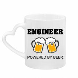 Кружка з ручкою у вигляді серця Engineer Powered By Beer