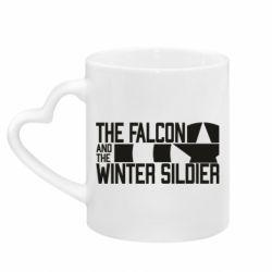 Кружка з ручкою у вигляді серця Falcon and winter soldier logo