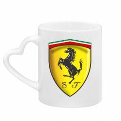 Кружка с ручкой в виде сердца Ferrari 3D Logo