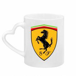 Кружка с ручкой в виде сердца Ferrari