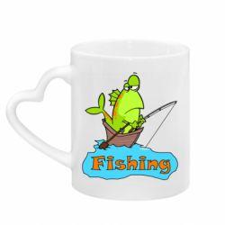 Кружка с ручкой в виде сердца Fish Fishing