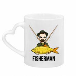 Кружка з ручкою у вигляді серця Fisherman and fish