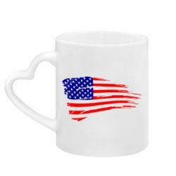 Кружка з ручкою у вигляді серця Прапор США