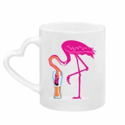 Кружка з ручкою у вигляді серця Flamingo drinks beer