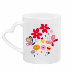 Кружка с ручкой в виде сердца Flowers and Butterflies
