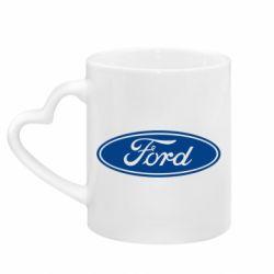 Кружка с ручкой в виде сердца Ford Logo