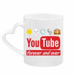 Кружка з ручкою у вигляді серця Forever and ever emoji's life youtube