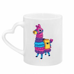 Кружка с ручкой в виде сердца Fortnite colored llama