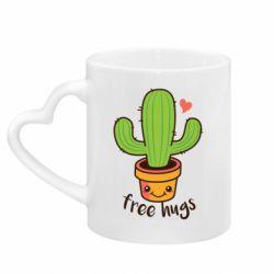 Кружка с ручкой в виде сердца Free Hugs Cactus