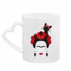 Кружка с ручкой в виде сердца Frida Kalo and cat