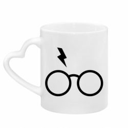 Кружка з ручкою у вигляді серця Гаррі Поттер лого