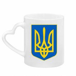 Кружка с ручкой в виде сердца Герб неньки-України