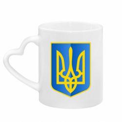 Кружка с ручкой в виде сердца Герб України 3D