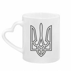 Кружка з ручкою у вигляді серця Герб України (полий)