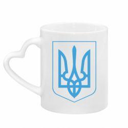 Кружка з ручкою у вигляді серця Герб України з рамкою