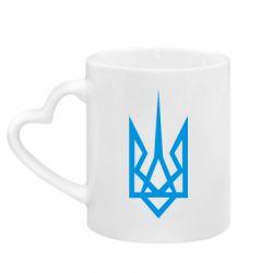 Кружка с ручкой в виде сердца Герб України загострений