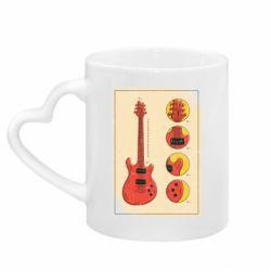 Кружка з ручкою у вигляді серця Гітара