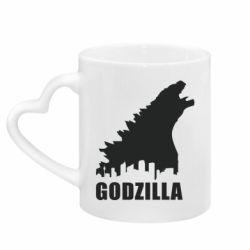 Кружка з ручкою у вигляді серця Godzilla and city