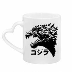 Кружка з ручкою у вигляді серця Godzilla in japanese