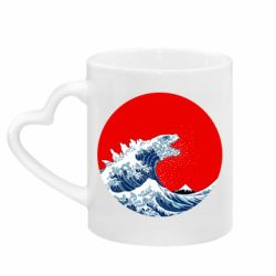 Кружка з ручкою у вигляді серця Godzilla Wave